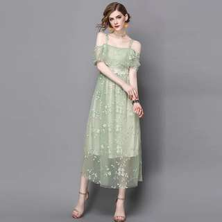 Off shoulder green embroidered lace mesh midi strap dress