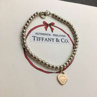 Tiffany & Co. Return To Tiffany 18K Rose Gold Mini Heart Silver Bead Bracelet