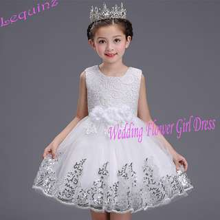 Best Selling ! Princess Wedding Birthday Party Girls White Flower Girl Dress