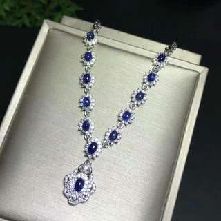 Natural Blue Sapphire Gem Floral Necklace