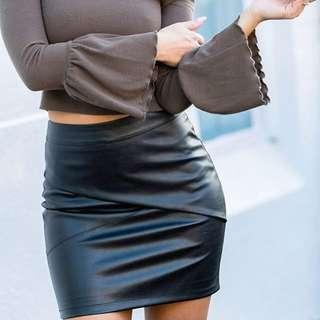 Women's black leather mini skirt - sizes 8, 10 & 12 AUS