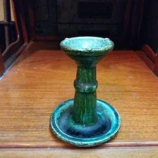老舊 石灣綠釉~油盞