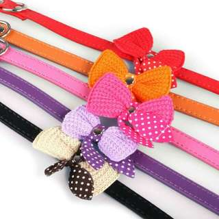 Dog Cat Pet Knit Bowknot Adjustable Collars