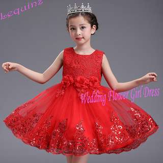 Princess Wedding Birthday Party Girls Red Flower Girl Dress