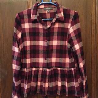 BN Primark Long sleeves red/pink checked blouse top