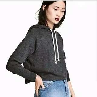 NEW H&M CROP HOODIE GREY