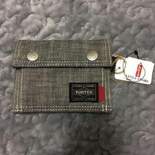 全新 日本 Tokyo porter x Levi's 銀灰色 銀包