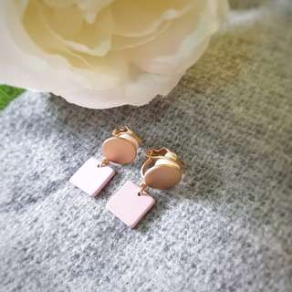 Pink clip on korean earrings