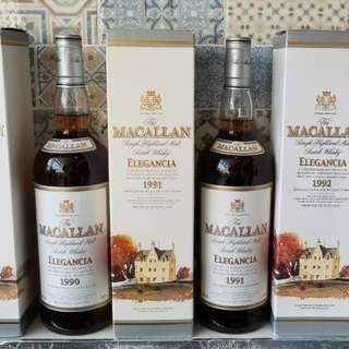 經典絕版Macallan elegancia 1990,1991,1992