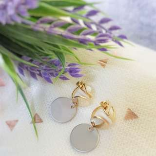 Grey clip on korean earrings