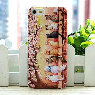 Apple iphone 6s、6s plus、5s/SE 賞花貓星人 卡通浮雕超薄透明邊 彩繪手機殼 特價$70