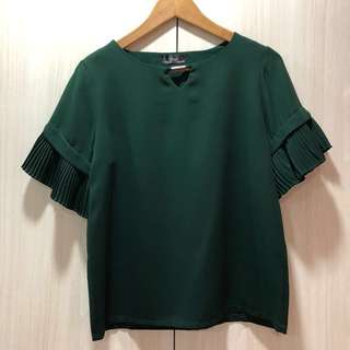 Green Pleated Sleeves Blouse