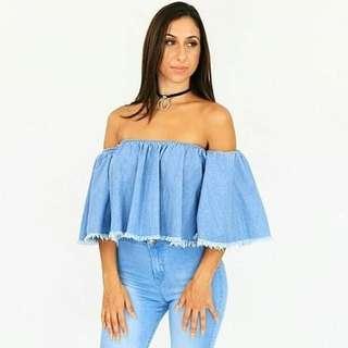 Women's off shoulder frayed denim top - sizes SML & LGE