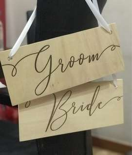 Customized Wedding Bride & Groom Solemnisation Chair Signage