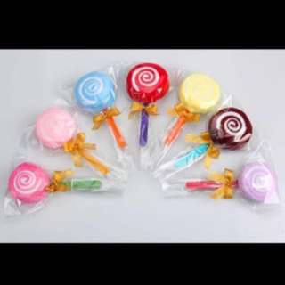 In stocks- Door Gift Favors Colourful Candy Lollipop Towel