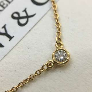 Authentic Tiffany & Co. Elsa Peretti By The Yard Gold Necklace Diamond 0.05 Carat
