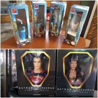 Petron avengers set of 4 and petron BVS wonderwoman and superman