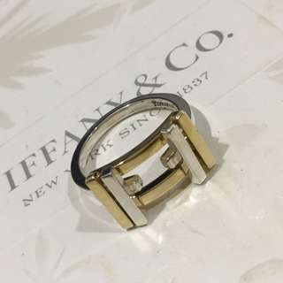 Excellent Retired Authentic Tiffany & Co. Gehry Axis Silver Gold 18k Ring #7.5