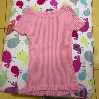 Top rajut baby pink