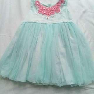 Peppermint Aqua dress for 6-12 months old