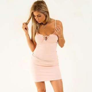 Women's pink Fitted Ribbed dress - sizes SML-LGE