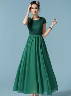 AO/KMC070112 - Fashion Lace Splicing High Waist Chiffon Maxi Dress
