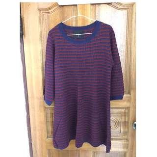 🚚 Fecha紅藍針織毛衣洋裝