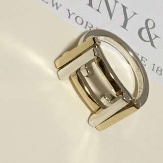 Excellent Retired Authentic Tiffany & Co. Gehry Axis Silver x Yellow Gold 18k Ring #4