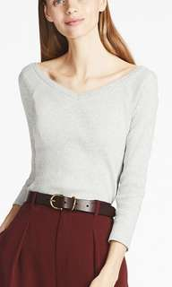 uniqlo red ballet neck 3/4 sleeves ribbed top