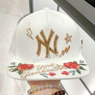 🇰🇷MLB Yankees New York Rose White Cap 紐約玫瑰白色帽