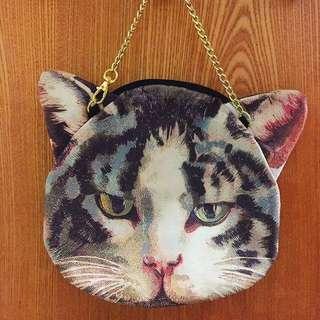 雙面貓咪印花金鍊手提包 日系