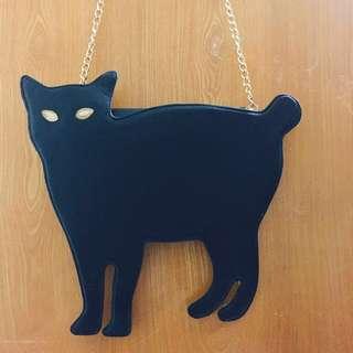 🚚 神秘貓咪金鍊斜背包 #黑貓