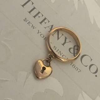 Excellent Authentic Tiffany & Co. Mini Heart Lock Ring Rose Gold 18k #6