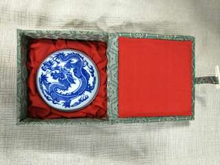 Porcelain ink box dragon with fireball design