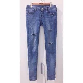 🚚 正韓|割破淺藍窄管牛仔褲