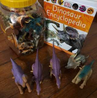 Dinosaur encyclopedia and figurines
