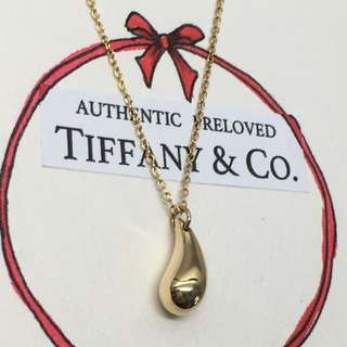 Excellent Authentic Tiffany & Co Elsa Peretti Teardrop Necklace 750 18k Yellow Gold