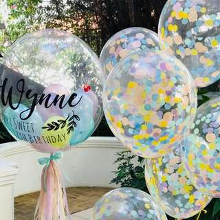 Customised with confetti balloons