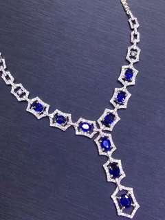 18K白金 藍寶石鑽石項鍊