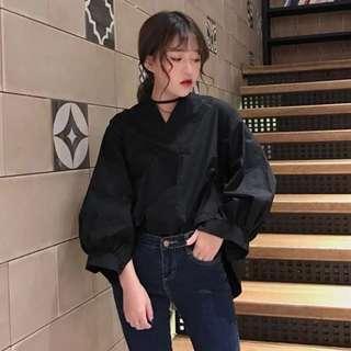 Plain / basic Loose Long sleeve v-Neck oversized blouse