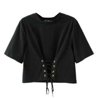 黑色腰綁帶短版上衣s號