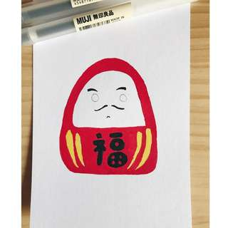 Hand-drawn Daruma A6 Sized Greeting Card