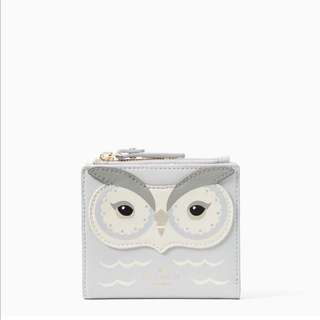 SALE Kate Spade Star Bright Owl Adalyn Small Wallet White Grey