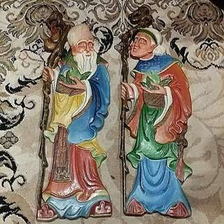 "23"" Tall Vintage Old Couple Wall Hanging Decor Hand Painted"