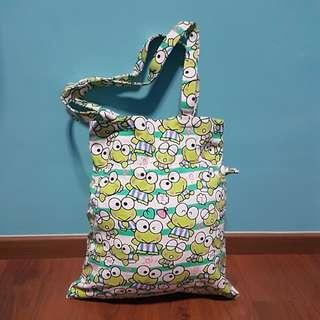 Keroppi frog tote and drawstring bag