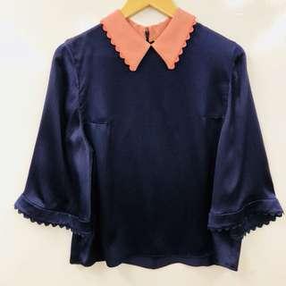 Roksanda navy and pink silk top size 14