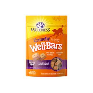 WELLNESS – WELLBARS OVEN-BAKED BISCUITS DOG SNACKS CHICKEN & CHEDDAR CHEESE 8OZ