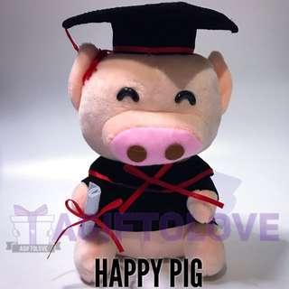 Happy Pig Graduation Plush Gift Set
