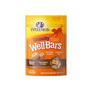 WELLNESS – WELLBARS OVEN-BAKED BISCUITS DOG SNACKS CRUNCHY PEANUTS & HONEY 8OZ