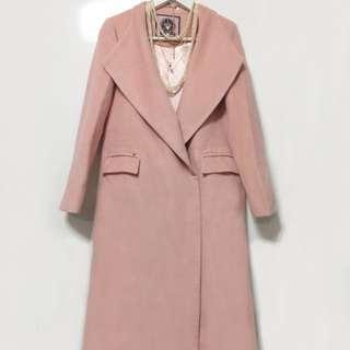 韓版 粉紅羊毛大衣